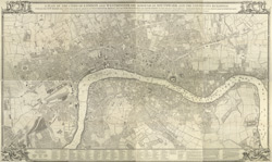 A plan of the cities of London and Westminster, the Borough of Southwark and the contiguous buildings with all the new roads that have been made on account of Westminster Bridge, and the new buildings and the alterations to the present year MDCCLV